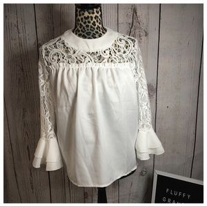 Tops - White Bell Sleeve Blouse XL
